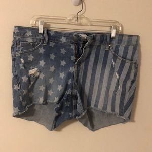 Distressed American Flag Torrid Shorts